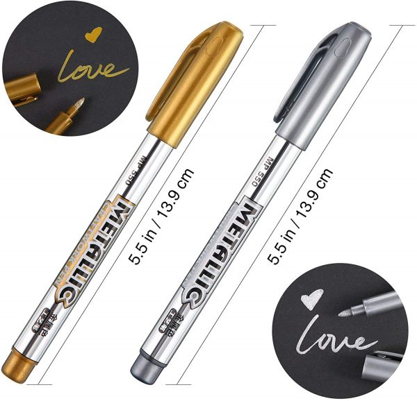 Gold and Silver Metallic Marker Pens